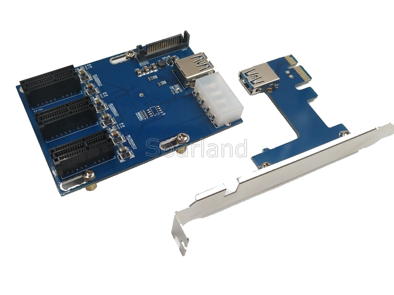 PCIe x1 Riser Cable 1 to 3 ports