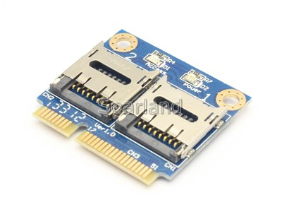 Dual micro SD Card to Mini PCIe Adapter