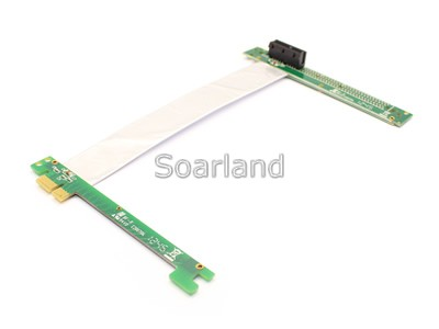 PCIe x1 Silver Riser Cable with long PCB