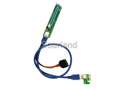 PCIe x1 to x16 Riser Card with USB 3.0 Cable