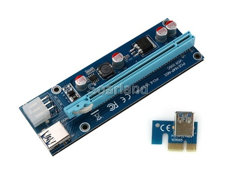 PCIe x1 to x16 Riser with USB 3.0 Cable